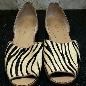 Calfhair zebra & tan leather open toe flat